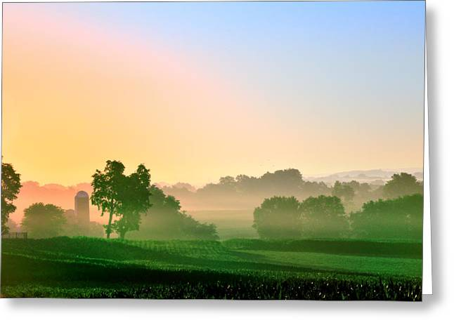 Amish Greeting Cards - Amish Farm Sunrise Greeting Card by Bill Cannon