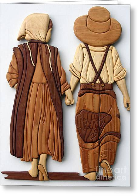 Intarsia Sculptures Greeting Cards - Amish friends Greeting Card by Bill Fugerer