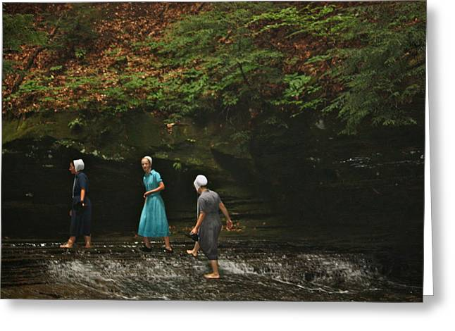 Mb Matthews Greeting Cards - Amish Girls hike the FAlls Greeting Card by MB Matthews
