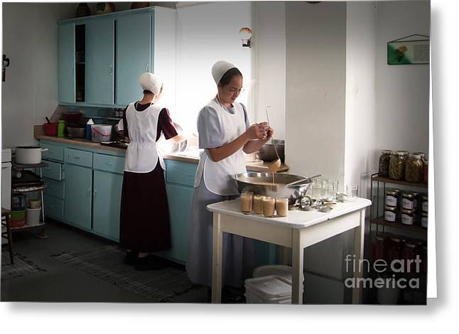 Amish Farms Greeting Cards - Amish Kitchen Work Greeting Card by Fred Lassmann