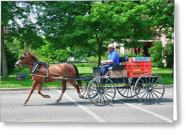 Amish Photographs Greeting Cards - Amish Merchant 5671 Greeting Card by Guy Whiteley