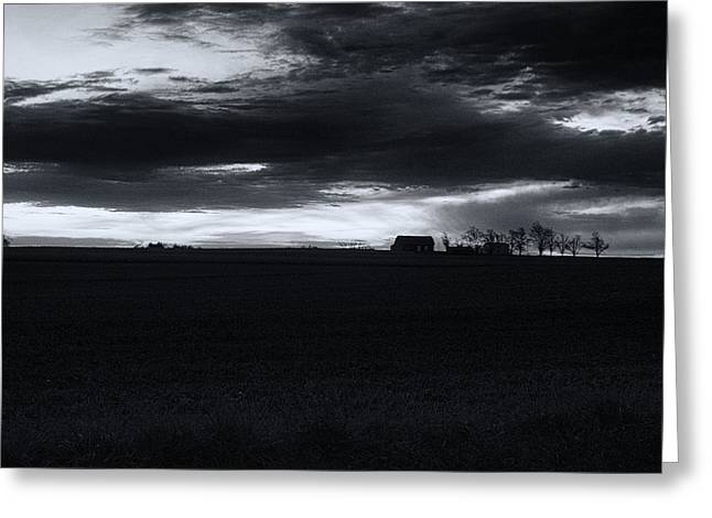 Amish Sunrise Black and White Greeting Card by Joshua House