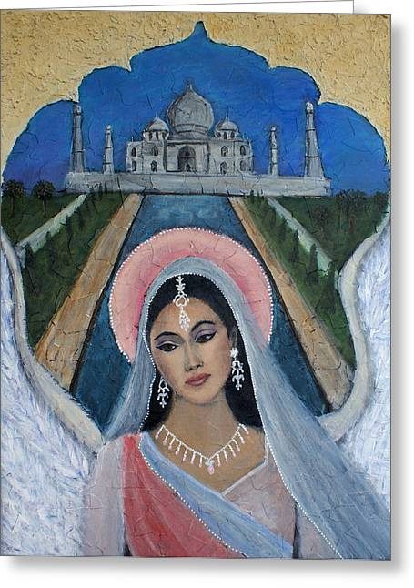 Amishi An Earth Angel Representing A Young Bride On Her Wedding Day Greeting Card by The Art With A Heart By Charlotte Phillips