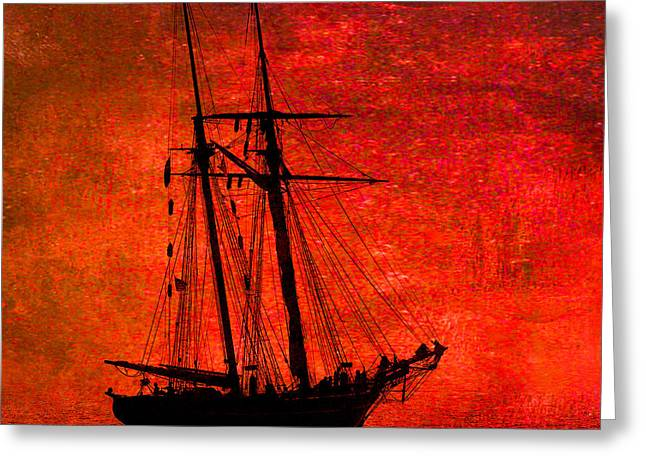 Schooner Greeting Cards - Amistad on Red Greeting Card by Fred LeBlanc