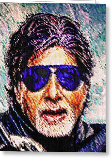Greatest Of All Time Greeting Cards - Amitabh Bachchan - God of Bollywood Greeting Card by Piety Dsilva