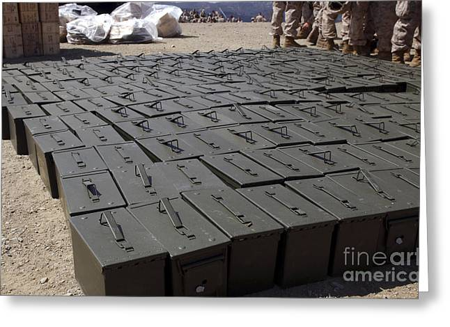 .50 Caliber Greeting Cards - Ammunition Boxes Sit Covered Greeting Card by Stocktrek Images