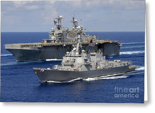 Strike Group Greeting Cards - Amphibious Assault Ship Uss Nassau Greeting Card by Stocktrek Images