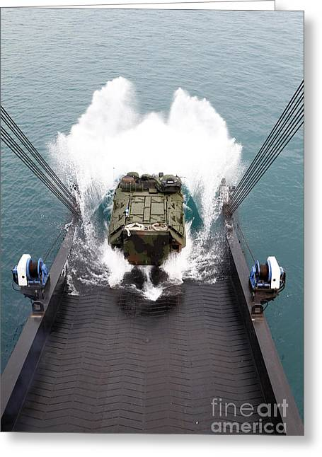 1st Corps Greeting Cards - Amphibious Assault Vehicles Disembark Greeting Card by Stocktrek Images
