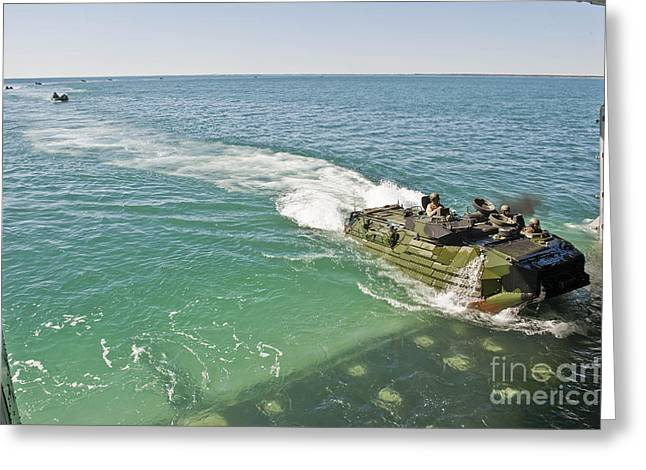 Tank Battalions Greeting Cards - Amphibious Assault Vehicles Enter Greeting Card by Stocktrek Images