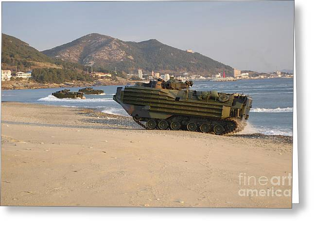 Amphibious Assault Vehicles Push Greeting Card by Stocktrek Images