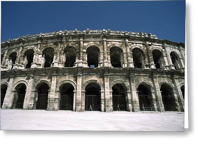 Southern France Greeting Cards - Amphitheatre Exterior Greeting Card by Axiom Photographic