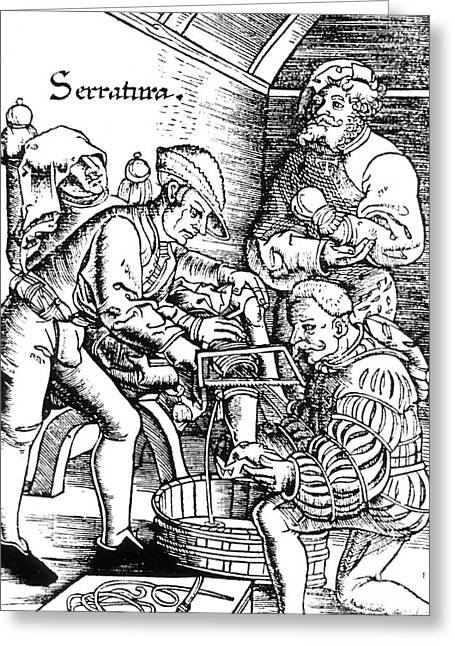 Historical Surgeon Greeting Cards - Amputation, 1517 Greeting Card by Science Source