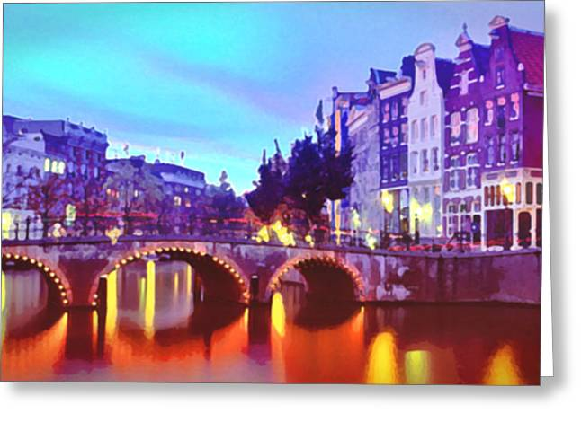 Steve Huang Greeting Cards - Amsterdam at Dusk Greeting Card by Steve Huang