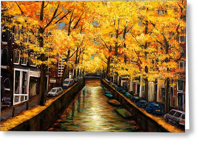 Blue Mountains Red Greeting Cards - Amsterdam Autumn Greeting Card by Johnathan Harris
