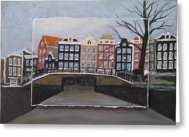 City Buildings Mixed Media Greeting Cards - Amsterdam Bridge layered Greeting Card by Anita Burgermeister