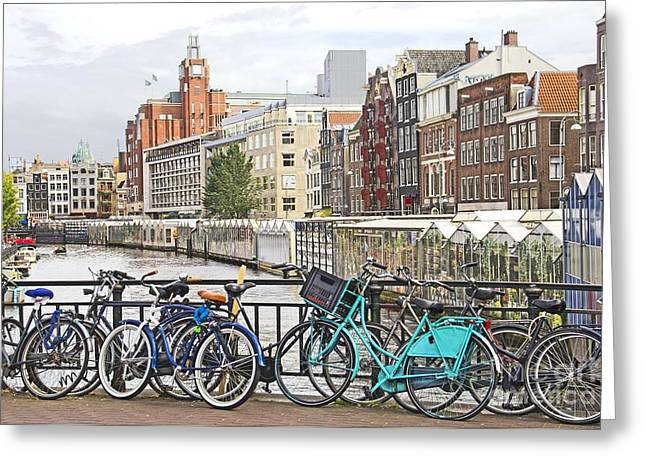 Old Home Place Greeting Cards - Amsterdam canal and bikes Greeting Card by Giancarlo Liguori