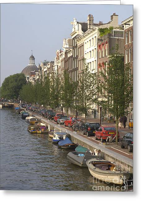 Holland Greeting Cards - Amsterdam Canal Greeting Card by Andy Smy