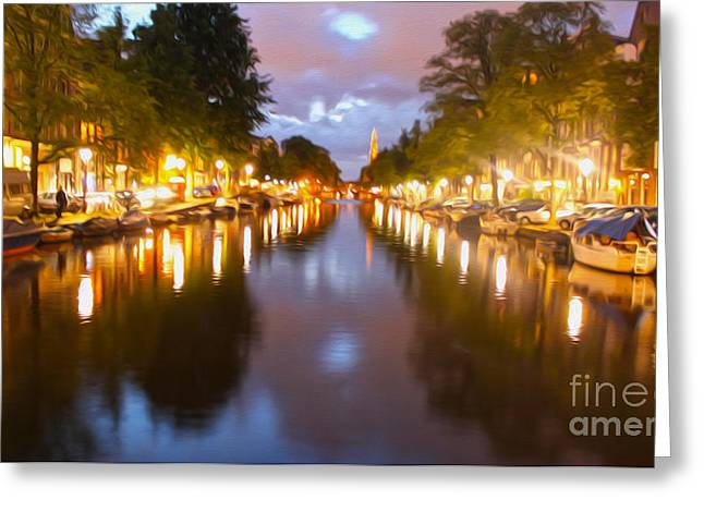 Gregory Dyer Greeting Cards - Amsterdam canal at night Greeting Card by Gregory Dyer