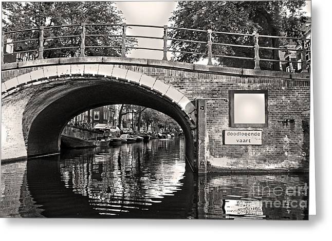 Amsterdam Canal Bridge In Sepia Greeting Card by Gregory Dyer