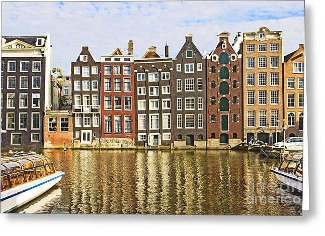 House Gable Greeting Cards - Amsterdam canal Greeting Card by Giancarlo Liguori
