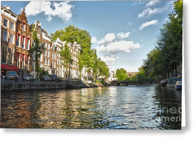 Amsterdam Canal Greeting Card by Gregory Dyer