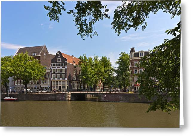 Gabled Greeting Cards - Amsterdam canal view Greeting Card by Johan Elzenga