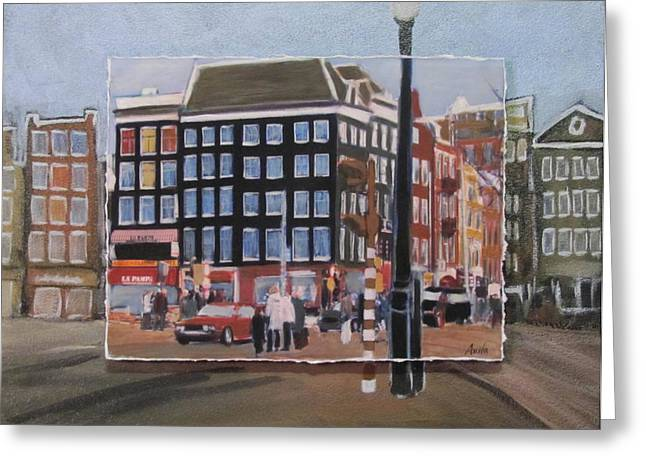 Lamp Post Mixed Media Greeting Cards - Amsterdam Corner layered Greeting Card by Anita Burgermeister