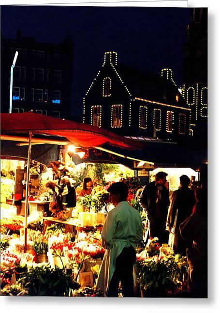 Amsterdam Market Greeting Cards - Amsterdam Flower Market Greeting Card by Nancy Mueller