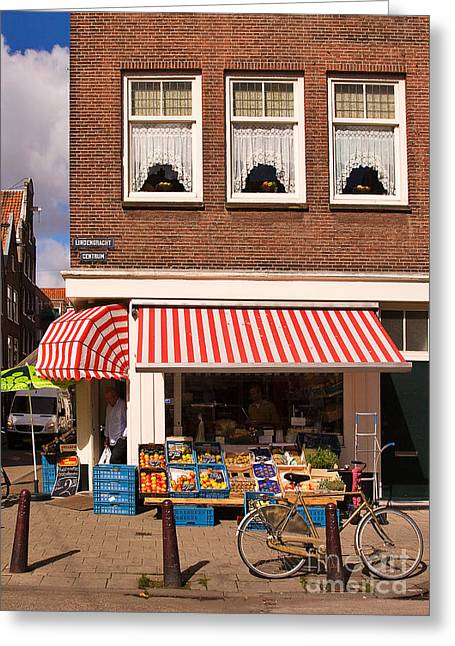 European Bicycle Shop Greeting Cards - Amsterdam Greeting Card by Louise Heusinkveld