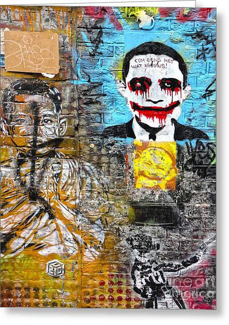 Amsterdam Obama Graffiti Greeting Card by Gregory Dyer