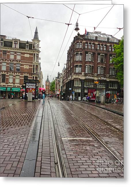 Amsterdam Rainy Day Greeting Card by Gregory Dyer