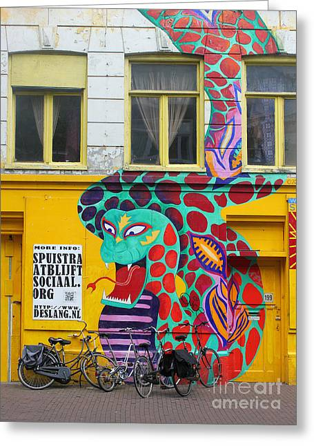 Amsterdam Snake Graffiti Greeting Card by Gregory Dyer