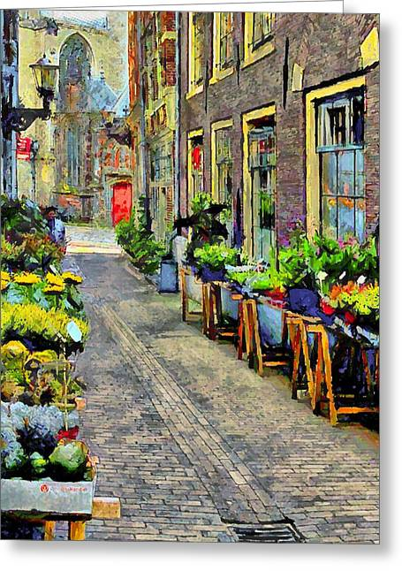 Drug House Greeting Cards - Amsterdam Tour  Flower Market Greeting Card by Yury Malkov