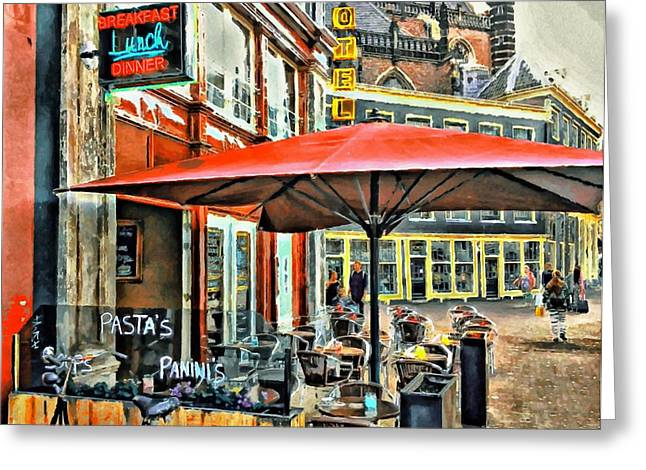 Drug House Greeting Cards - Amsterdam Tour  Street cafe Greeting Card by Yury Malkov
