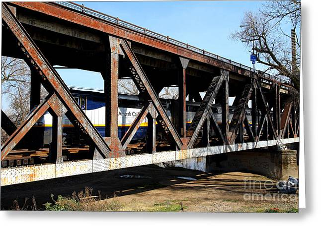 Railroad Bridge Greeting Cards - Amtrak California Crossing The Old Sacramento Southern Pacific Train Bridge . 7D11410 Greeting Card by Wingsdomain Art and Photography