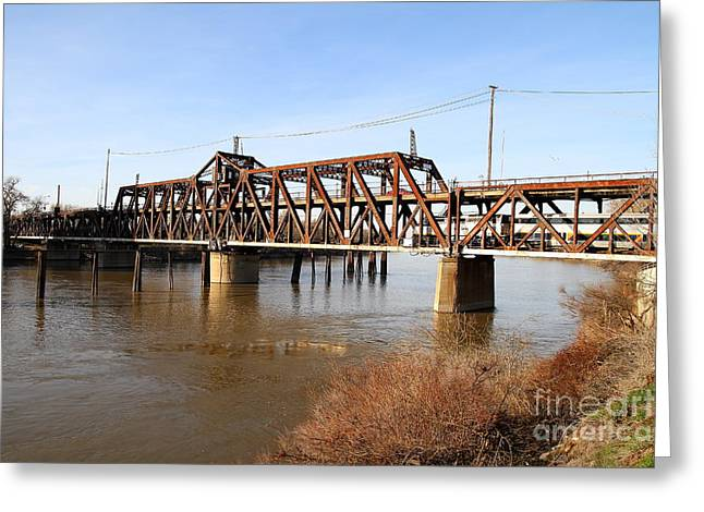 Railroad Bridge Greeting Cards - Amtrak California Crossing The Old Sacramento Southern Pacific Train Bridge . 7D11674 Greeting Card by Wingsdomain Art and Photography