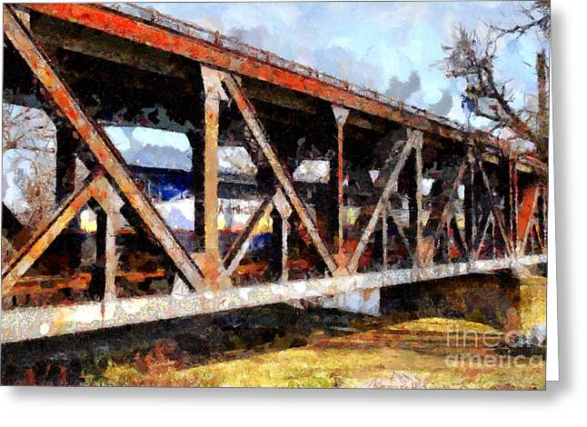 Backroads Digital Greeting Cards - Amtrak California Crossing The Old Sacramento Southern Pacific Train Bridge . Painterly 7D11410 Greeting Card by Wingsdomain Art and Photography