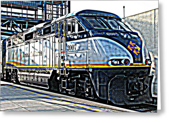 Sheats Greeting Cards - AMTRAK Locomotive Study 1 Greeting Card by Samuel Sheats