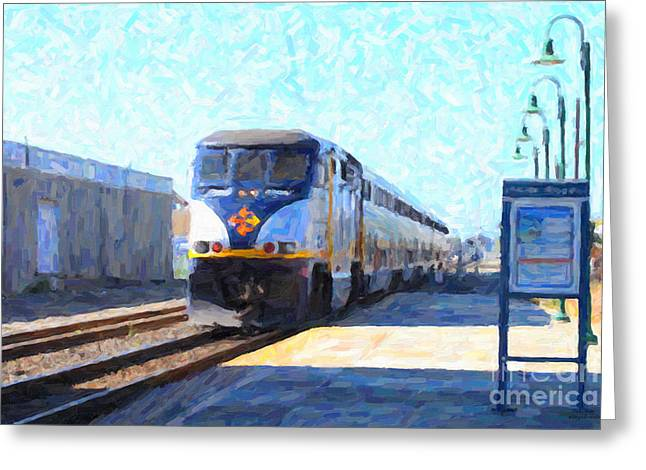 Wings Domain Digital Art Greeting Cards - Amtrak Train At The Station Greeting Card by Wingsdomain Art and Photography