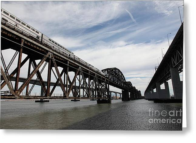 Carquinez Straits Greeting Cards - Amtrak Train Riding Atop The Benicia-Martinez Train Bridge in California - 5D18727 Greeting Card by Wingsdomain Art and Photography