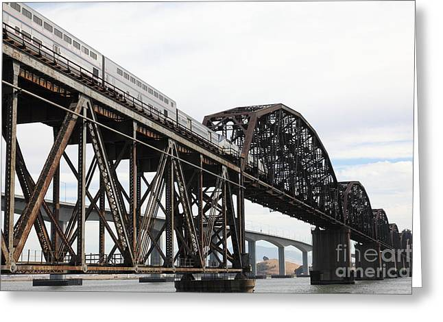 Amtrak Train Riding Atop The Benicia-martinez Train Bridge In California - 5d18728 Greeting Card by Wingsdomain Art and Photography