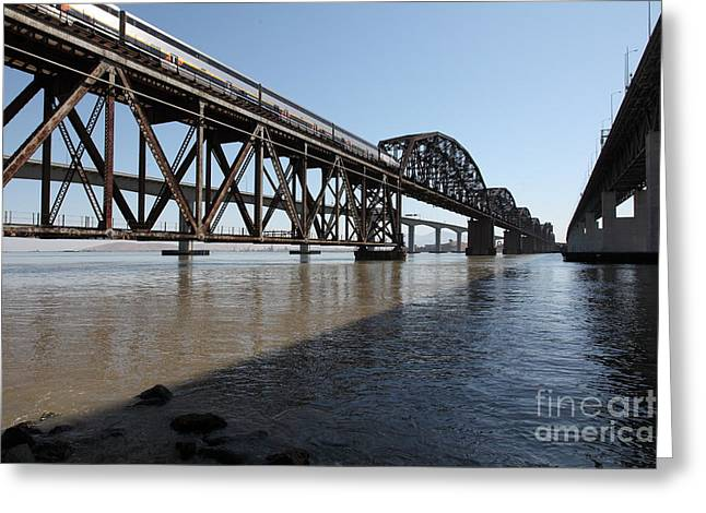 Carquinez Straits Greeting Cards - Amtrak Train Riding Atop The Benicia-Martinez Train Bridge in California - 5D18830 Greeting Card by Wingsdomain Art and Photography