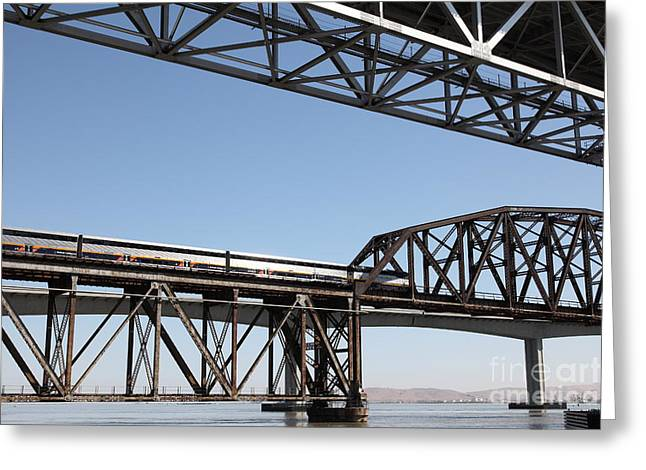 Carquinez Straits Greeting Cards - Amtrak Train Riding Atop The Benicia-Martinez Train Bridge in California - 5D18835 Greeting Card by Wingsdomain Art and Photography