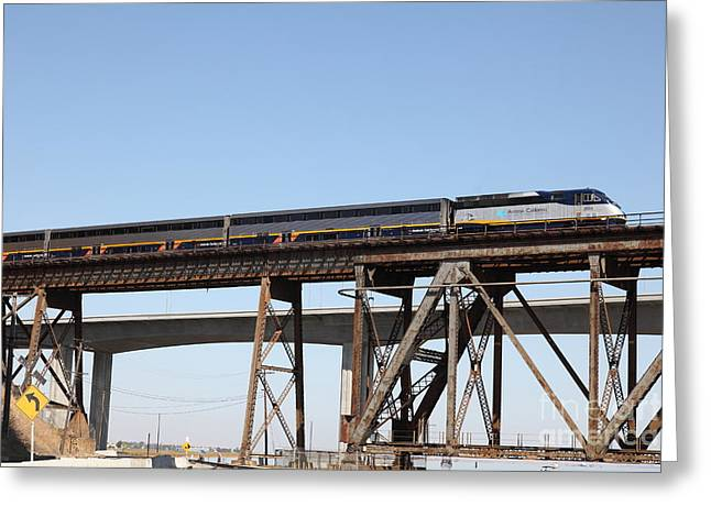 Carquinez Straits Greeting Cards - Amtrak Train Riding Atop The Benicia-Martinez Train Bridge in California - 5D18839 Greeting Card by Wingsdomain Art and Photography