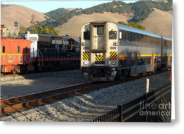 Niles Canyon Railway Greeting Cards - Amtrak Trains at The Niles Canyon Railway In Historic Niles District California . 7D10854 Greeting Card by Wingsdomain Art and Photography