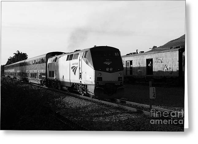 Niles Canyon Greeting Cards - Amtrak Trains at The Niles Canyon Railway In Historic Niles District California . 7D10857 . bw Greeting Card by Wingsdomain Art and Photography
