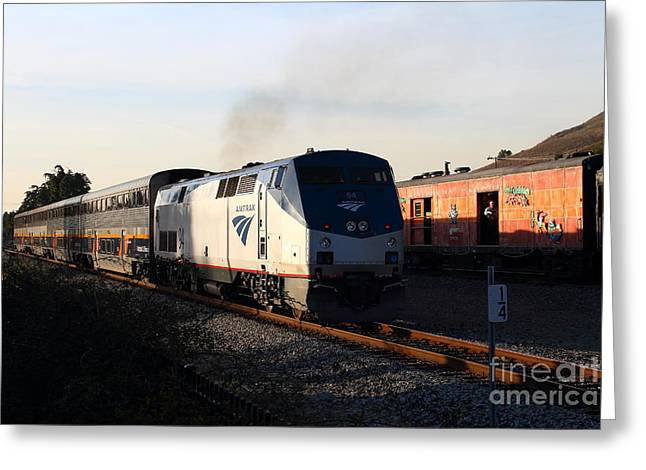 Niles Canyon Railway Greeting Cards - Amtrak Trains at The Niles Canyon Railway In Historic Niles District California . 7D10857 Greeting Card by Wingsdomain Art and Photography