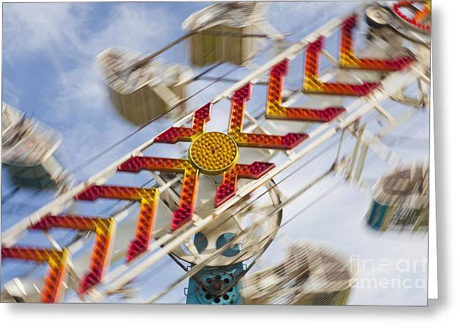 Clouds In Motion Greeting Cards - Amusement Park Ride Greeting Card by Bryan Mullennix