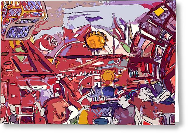 Abstract People Design Greeting Cards - Amusement Park Rides Greeting Card by Mindy Newman