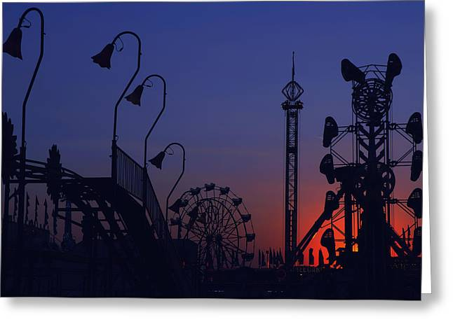Spokane Greeting Cards - Amusement ride silhouette Greeting Card by Michael Gass